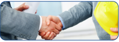 Shaking hands with an electrical contractor